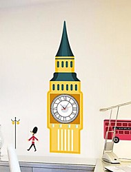 Wall Clock Stickers Wall Decals, Tower and Battery Feature Removable  PVC Wall Stickers