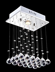 LED Pendant Light Lamps 1 Lights Contemporary Silver Canpoy Transparent Crystal Hotel Indoor Home Fixtures