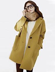 Women's Loose Plus Sizes Long Tweed Coat(More Colors)