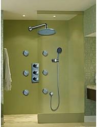 montado en la pared de cromo conjunto de ducha termostática contemporánea (i-006001)
