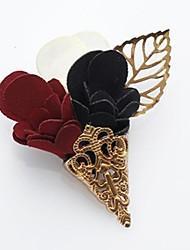 Flower Leaf White Red Dark Blue Golden Corsage Lapel Pin Brooch