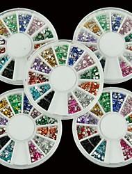 5x1800pcs Nail Art Rhinestone Glitter Round Mix 12 Color 1.5mm Nail Art Deco Glitters Gems