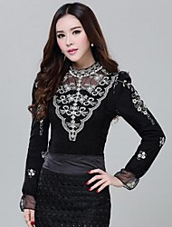 ICED™ Women's  Beads Lace Add Wool  T-shirt