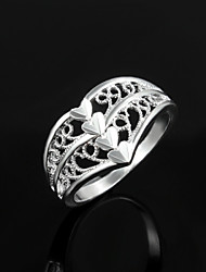 "2016 Flower""LOVE"" Heart Noble Women 925 Sterling Silver Statement Party Ring"