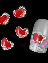 10pcs Red Heart Accessories For Nail Glue DIY Alloy Nail Art Decoration