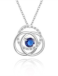 Silver-Plated Round Shape Silver Necklace(More Colors)