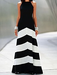 Women's Crew Neck Color Block Maxi Dress