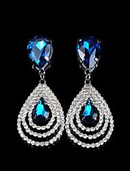 Tropfen-Ohrringe Kristall Kubikzirkonia Strass Imitation Diamant Aleación Modisch Tropfen Weiß Smaragd Königsblau Schmuck 2 Stück