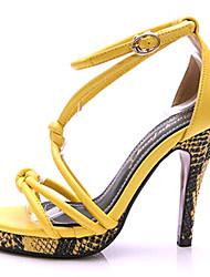 Women's Spring Summer Fall Platform Leather Office & Career Dress Casual Party & Evening Stiletto Heel Platform Yellow Beige