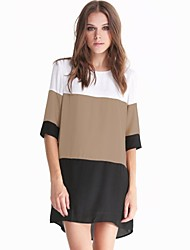 color block 1/2 manches, plus la taille changement lâche mini-robe des femmes