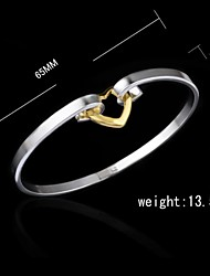 Fashion Sterling Silver Plated Heart Shaped Decoration  Bangle Women's Bracelet