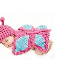 PC 1 foto apoyo de la fotografía de la gorrita tejida animales traje de mariposa de ganchillo sombreros del bebé Gorro de lana 0-6 meses