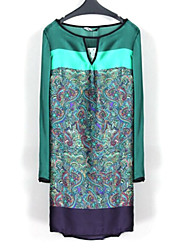Women's Dress,Print Above Knee Long Sleeve Multi-color Polyester All Seasons