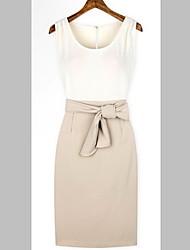 vestido sin espalda cuello redondo de moda de miel de las mujeres