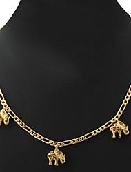 u7® nueva cadena encantos lindos elefante collar figaro 18k oro verdadero regalo de la joyería de moda para mujeres hombres 55cm