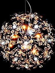 luces colgantes de cristal de hierro esféricas cromo bombilla g4
