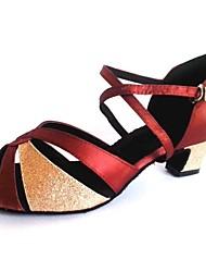 sandali delle donne latine raso personalizzabili tallone spesso con scarpe da ballo glitter scintillanti