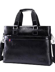 maletín de cuero genuino bolso de hombro del ordenador de los hombres
