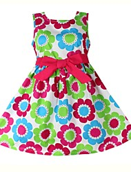 Girl's Multi-color Dress Cotton Summer / Spring