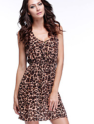 vestido bodycon moda causual estampado de leopardo de las mujeres Weina