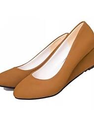 женская обувь Круглый носок пятки клина насосов ботинок