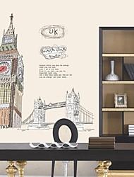 стикеры стены наклейки на стены, величественное здание известные Биг Бен ПВХ стены наклейки