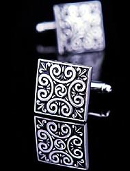 toonykelly cobre esmaltado negro de plata de la mancuerna de los hombres de moda (plata) (1 par)