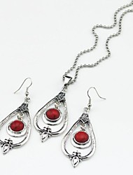 Toonykelly Vintage Antique Silver Round Turquoise Stone(Earring and Necklace) Jewelry Set
