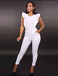 solide blanc combinaison / noir, chemise moulante ras du cou papillon des femmes