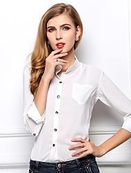Mulheres Camisa Formal Simples Primavera / Verão / Outono,Sólido Azul / Branco / Preto / Verde Colarinho de Camisa Manga Longa Fina