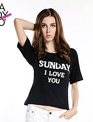 haoduoyi® Women's Letter Print Round Collar Short Sleeve T-Shirt