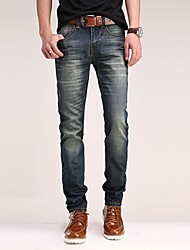 Men's Solid Casual / Work / Formal Jeans,Cotton / Denim Blue