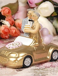 Cake Toppers Happiness Golden Marriage Couples Standing in A Gold  Car Cake Topper