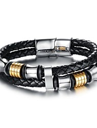 European Style Genuine Leather Magnetic Buckle Men's Bracelet
