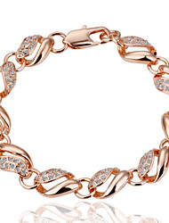 Novel Creative Women's White Rhinestones Rose Gold Plated Tin Alloy Chain & Link Bracelet(Rose Gold)(1Pc)