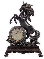"""22,8 """"h cuivre antique polyrésine placage cheval noir mur mute horloge"""