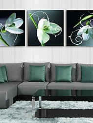 E-HOME® Stretched LED Canvas Print Art Green Flower Flash Effect LED Flashing Optical Fiber Print Set of 3