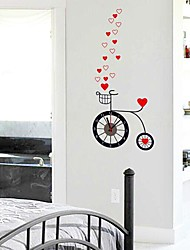 Wall Clock Stickers Wall Decals, Red Hearts and Clock Feature Removable  PVC Wall Stickers