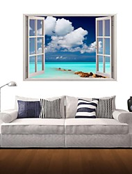 3D-Wandaufkleber Wandtattoo, Meer blauer Himmel und weiße Wolken Dekor Vinylwandaufkleber