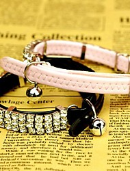 Cat / Dog Collar Adjustable/Retractable / Rhinestone Black / Pink PU Leather
