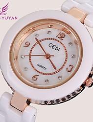 mujeres de la marca de lujo gedi® relojes de moda subió rhinestone de oro blanco de cuarzo de la venda de cerámica relojes (colores surtidos)