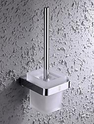 HPB®,Suporte para Escova de Banheiro Cromado De Parede 11.5*12cm(4.2*4.7 inch) Latão / Aço Inoxidável / Vidro Contemporâneo