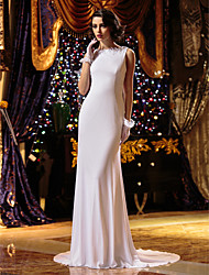 Lanting Bride® Sheath / Column Petite / Plus Sizes Wedding Dress Court Train Jewel Knit with