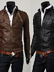 PROMOTION Men's Collar PU Leather Brief Paragraph Four Pockets