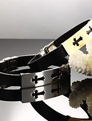 croix d'acier de titane plaqué or de la foi 24 k hommes Bracelet en cuir