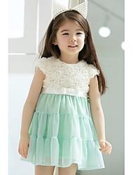 2015 muchachas del verano vestido rosa vestidos de flores vestido sin mangas de la niña del vestido de partido de la princesa de los niños