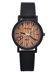 Women's Vintage Wood Grained Surface Dial Watch Circular High Quality Japanese Watch Movement(Assorted Colors) Cool Watches Unique Watches