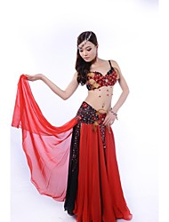 Belly Dance Outfits Women's Performance Chiffon Sequined Feathers Sequins Buttons Crystals/Rhinestones Paillettes Dropped