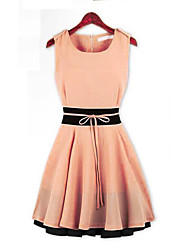 Women's Contrast Color Sleeveless Skater Dress