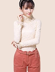 Women's Casual/Daily Simple Fall / Winter Blouse,Solid Long Sleeve White / Beige / Black Medium